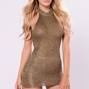 Metallic brown halter knit dress
